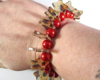 Rockabilly Red Pearl Stretchy Bracelet
