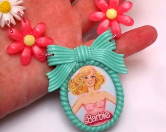 ON SALE - Barbie Bib Necklace with Pink Flowers