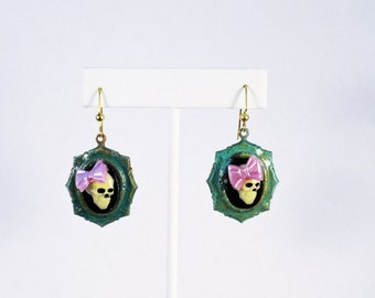 Cute Skull Cameo Earrings with Purple Bows