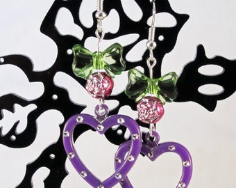 Purple Heart Distressed Metal Heart Earrings with Hot Pink Rose Beads and Green Bows