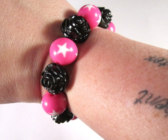 Punk Rock Stretchy Bracelet with Black Carved Rose and Hot Pink Beads