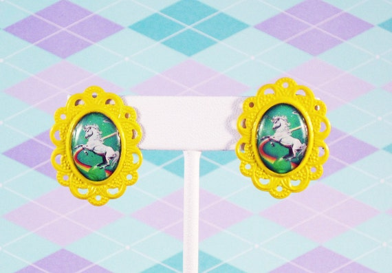 80s Style Green Unicorn Cameo Post Earrings