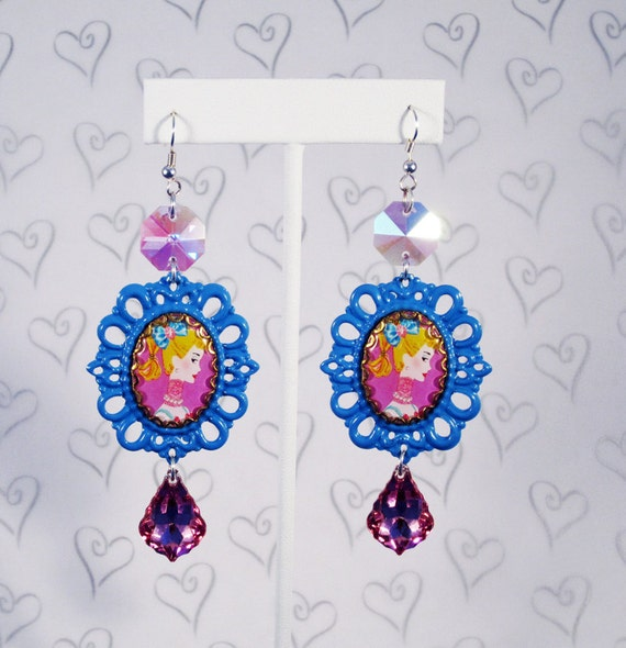 Barbie Cameo Blue Earrings with Shimmery Glass Accents