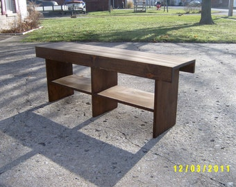wood bench recycled 4' salvaged farm house custom made