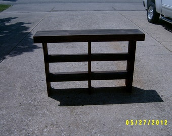 wooden bench tall bench console  entryway table recycled material custom made farmhouse style