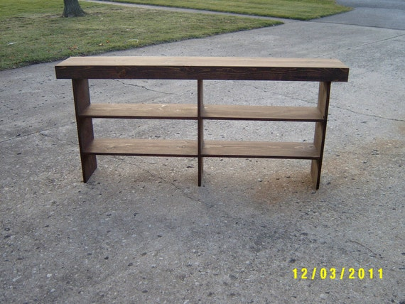 wooden bench tall bench console, sofa table  entryway table recycled material custom made farmhouse style