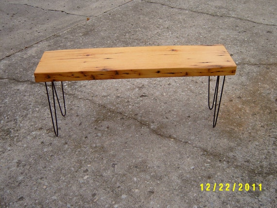 "45"" recycled  wood bench beam eames hairpin legs shabby chick"