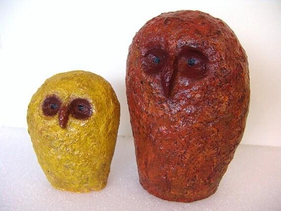 2 Sculpture Owls Mid century Inspired