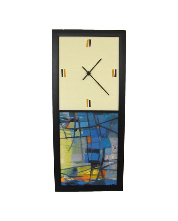 Modern Wall Clock Abstract Blue Mid century Inspired
