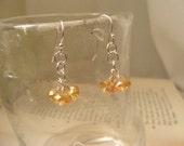 Golden Glass Three Bead Drops, gold cluster earrings, champagne earrings, cluster earrings, champagne clusters