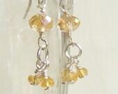 Drops of Sunlight Citrine Earrings, sterling silver earrings, citrine dangle earrings, gold and silver, citrine cluster, yellow earrings