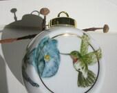 Hummingbird hand painted porcelain ornament