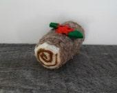 Cat toy catnip Yule log, needle felted