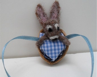 Needle felted rabbit in walnut shell