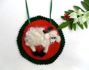 Needle felted  lamb ornament