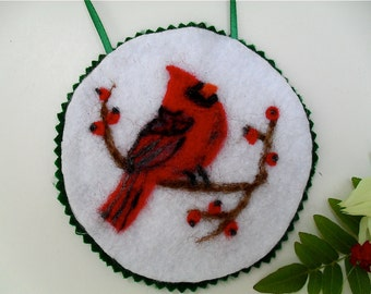 Needle felted Cardinal, bird  christmas ornament
