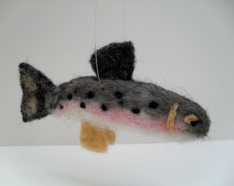 Trout needle felted ornament