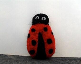 cat toy catnip ladybug, needle felted