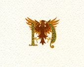 Gold leaf initial letter 'N' with an heraldic eagle displayed.