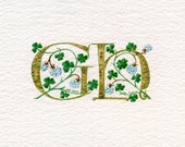 Double Gold initials - 'G and H' in fine gold leaf with lucky white clover - Golden Wedding Anniversary gift.