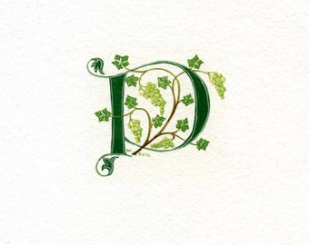 Initial letter 'P' handpainted in green with grapes and grapevine in a square ivory mount.