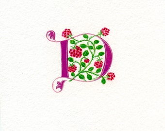 Initial letter 'D' in pink with raspberries custom initial handmade letter.