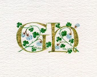 Double Gold initials in fine gold leaf with white clover Golden Wedding Anniversary gift.