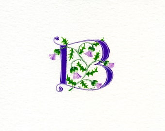 Initial letter 'B'  handpainted in purple with Scots thistles