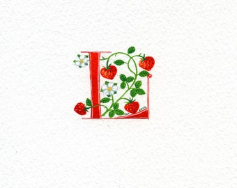 Letter 'L' in red with strawberries custom initials handmade birthday gift