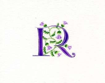 Initial letter 'R' in purple with Scots thistles custom initials gift handmade gifts