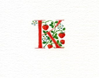 Initial letter 'K' in red with strawberries flowers and leaves special birthday gift