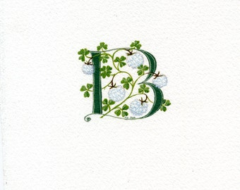 Initial letter 'B' in dark green with white clover good luck gift.