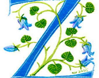 Letter 'Z' handpainted in turquoise with bluebells Mother's Day Gift Birthday gift