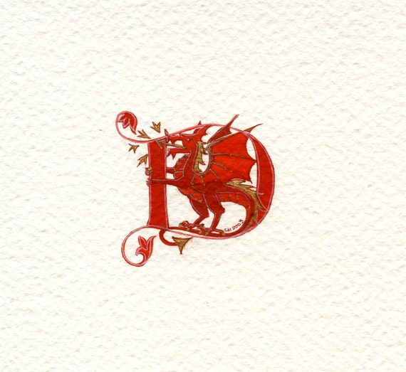 Red initial letter 'D'  with a red and gold dragon Special Birthday Friend Birthday
