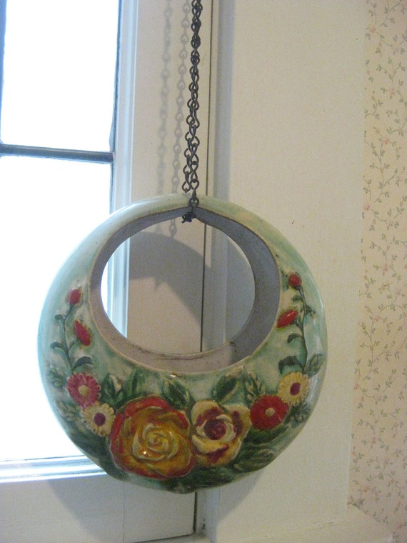 Vintage Circular Hanging Wall Pocket with Original Chain - Made in Japan