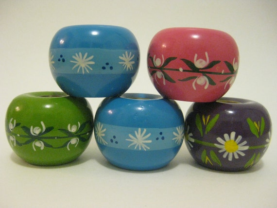 sALE Collection of 5 Handpainted Wooden Danish Candle Holders Helen & Mogens Lyholmer
