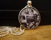 """Vintage Inspired HOLLYWOOD PIN UP Girls artwork in Dome glass set in 1 1/2"""" Silver Pendant inc matching ball chain"""