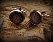VINTAGE CLOCK CUFFLINKS (Or Custom) Silver Plated 18mm glass Perfect for your hubby, dad, son, or wedding
