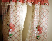 1950s Like New Vintage Kitsch Plastic Kitchen Curtains in Red and White with Country Floral and Check