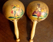 Vintage Hand Painted Gourd Maracas with Wood and Wicker Handles Signed by FDEZ Made in Mexico