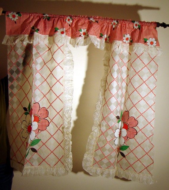 Retro Kitchen Curtains 1950s: 1950s Like New Vintage Kitsch Plastic Kitchen Curtains In Red