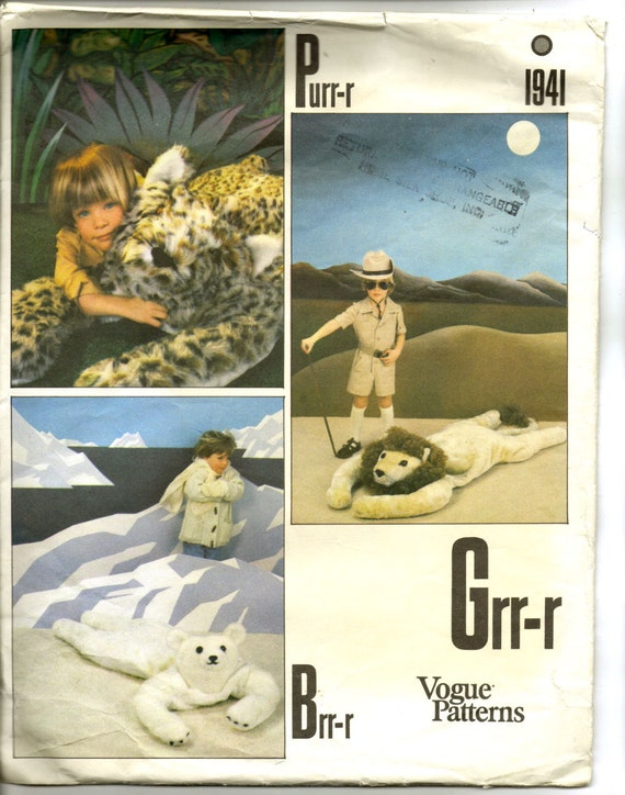 UNCUT Vogue Pattern 1941of Five Foot Long Stuffed  Animal Rugs for Children Leopard Lion and Polar Bear