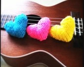3 Hand Knitted Bright Hearts