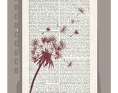 Make a WISH - ORIGINAL ARTWORK  printed on Repurposed Vintage Dictionary page -Upcycled Book Print