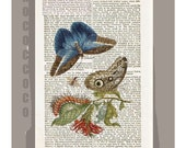 BOTANICAL- ARTWORK  printed on Repurposed Vintage Dictionary page -Upcycled Book Print