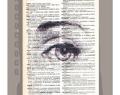 Beautiful EYE- ORIGINAL ARTWORK  printed on Repurposed Vintage Dictionary page -Upcycled Book Print