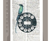 CALL Me -ORIGINAL ARTWORK printed on Repurposed Vintage Dictionary page -Upcycled Book Print