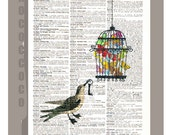 Bird Releases the Butterflies - Butterflies cage ORIGINAL ARTWORK printed on Repurposed Vintage Dictionary page 8 x 10 -Upcycled Book Print