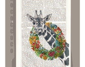HAPPY - ORIGINAL ARTWORK  printed on Repurposed Vintage Dictionary page -Upcycled Book Print