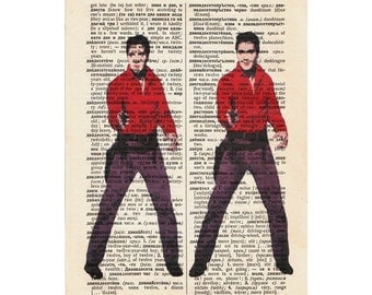 FREE SHIPPING World Wide Elvis Presley on a vintage Dictionary page